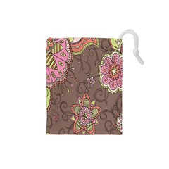 Ice Cream Flower Floral Rose Sunflower Leaf Star Brown Drawstring Pouches (small)  by Alisyart