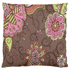 Ice Cream Flower Floral Rose Sunflower Leaf Star Brown Large Flano Cushion Case (one Side) by Alisyart