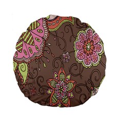 Ice Cream Flower Floral Rose Sunflower Leaf Star Brown Standard 15  Premium Flano Round Cushions by Alisyart