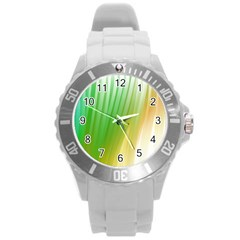 Folded Paint Texture Background Round Plastic Sport Watch (l) by Simbadda
