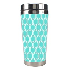 Plaid Circle Blue Wave Stainless Steel Travel Tumblers by Alisyart