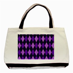 Plaid Triangle Line Wave Chevron Blue Purple Pink Beauty Argyle Basic Tote Bag (two Sides) by Alisyart