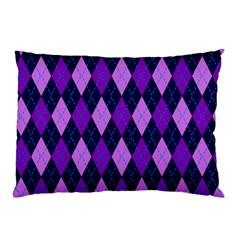 Plaid Triangle Line Wave Chevron Blue Purple Pink Beauty Argyle Pillow Case (two Sides) by Alisyart
