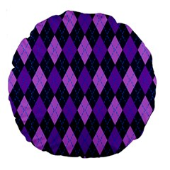 Plaid Triangle Line Wave Chevron Blue Purple Pink Beauty Argyle Large 18  Premium Round Cushions by Alisyart