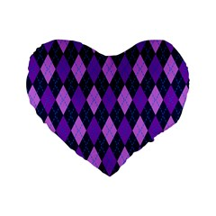 Plaid Triangle Line Wave Chevron Blue Purple Pink Beauty Argyle Standard 16  Premium Flano Heart Shape Cushions by Alisyart