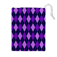 Plaid Triangle Line Wave Chevron Blue Purple Pink Beauty Argyle Drawstring Pouches (extra Large) by Alisyart