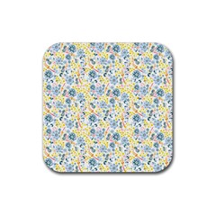 Flower Floral Bird Peacok Sunflower Star Leaf Rose Rubber Square Coaster (4 Pack)  by Alisyart