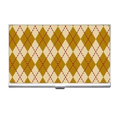 Plaid Triangle Line Wave Chevron Orange Red Grey Beauty Argyle Business Card Holders by Alisyart