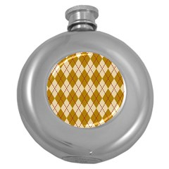 Plaid Triangle Line Wave Chevron Orange Red Grey Beauty Argyle Round Hip Flask (5 Oz) by Alisyart