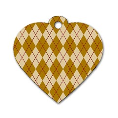 Plaid Triangle Line Wave Chevron Orange Red Grey Beauty Argyle Dog Tag Heart (two Sides) by Alisyart