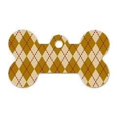 Plaid Triangle Line Wave Chevron Orange Red Grey Beauty Argyle Dog Tag Bone (one Side) by Alisyart