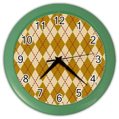 Plaid Triangle Line Wave Chevron Orange Red Grey Beauty Argyle Color Wall Clocks by Alisyart