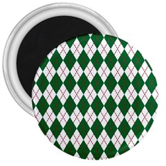 Plaid Triangle Line Wave Chevron Green Red White Beauty Argyle 3  Magnets by Alisyart