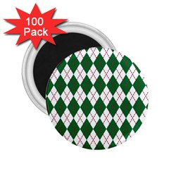 Plaid Triangle Line Wave Chevron Green Red White Beauty Argyle 2 25  Magnets (100 Pack)  by Alisyart
