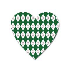Plaid Triangle Line Wave Chevron Green Red White Beauty Argyle Heart Magnet by Alisyart
