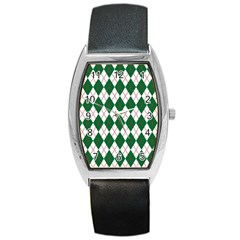 Plaid Triangle Line Wave Chevron Green Red White Beauty Argyle Barrel Style Metal Watch by Alisyart