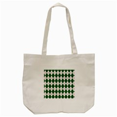 Plaid Triangle Line Wave Chevron Green Red White Beauty Argyle Tote Bag (cream) by Alisyart