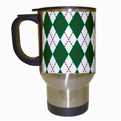 Plaid Triangle Line Wave Chevron Green Red White Beauty Argyle Travel Mugs (white) by Alisyart