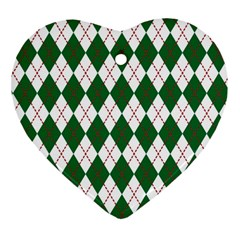 Plaid Triangle Line Wave Chevron Green Red White Beauty Argyle Heart Ornament (two Sides) by Alisyart