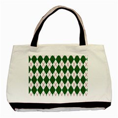 Plaid Triangle Line Wave Chevron Green Red White Beauty Argyle Basic Tote Bag (two Sides) by Alisyart