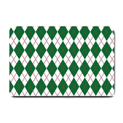 Plaid Triangle Line Wave Chevron Green Red White Beauty Argyle Small Doormat  by Alisyart
