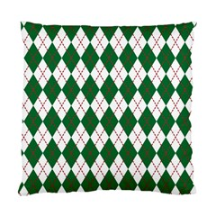 Plaid Triangle Line Wave Chevron Green Red White Beauty Argyle Standard Cushion Case (two Sides) by Alisyart