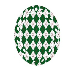 Plaid Triangle Line Wave Chevron Green Red White Beauty Argyle Oval Filigree Ornament (two Sides) by Alisyart