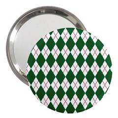 Plaid Triangle Line Wave Chevron Green Red White Beauty Argyle 3  Handbag Mirrors by Alisyart