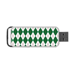 Plaid Triangle Line Wave Chevron Green Red White Beauty Argyle Portable Usb Flash (two Sides) by Alisyart