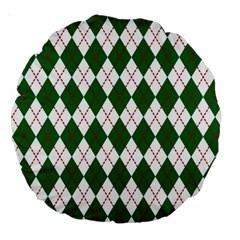 Plaid Triangle Line Wave Chevron Green Red White Beauty Argyle Large 18  Premium Round Cushions by Alisyart