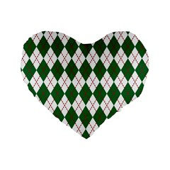 Plaid Triangle Line Wave Chevron Green Red White Beauty Argyle Standard 16  Premium Heart Shape Cushions by Alisyart