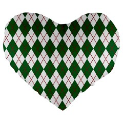 Plaid Triangle Line Wave Chevron Green Red White Beauty Argyle Large 19  Premium Heart Shape Cushions by Alisyart