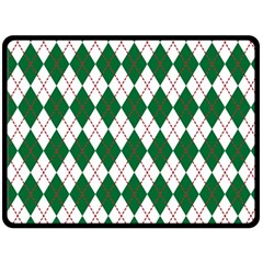 Plaid Triangle Line Wave Chevron Green Red White Beauty Argyle Double Sided Fleece Blanket (large)  by Alisyart