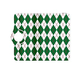 Plaid Triangle Line Wave Chevron Green Red White Beauty Argyle Kindle Fire Hdx 8 9  Flip 360 Case by Alisyart