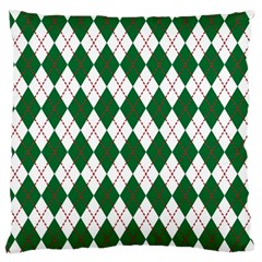 Plaid Triangle Line Wave Chevron Green Red White Beauty Argyle Standard Flano Cushion Case (one Side) by Alisyart
