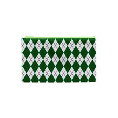 Plaid Triangle Line Wave Chevron Green Red White Beauty Argyle Cosmetic Bag (xs) by Alisyart