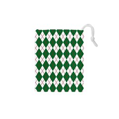 Plaid Triangle Line Wave Chevron Green Red White Beauty Argyle Drawstring Pouches (XS)