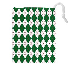 Plaid Triangle Line Wave Chevron Green Red White Beauty Argyle Drawstring Pouches (xxl) by Alisyart