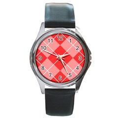 Plaid Triangle Line Wave Chevron Red White Beauty Argyle Round Metal Watch by Alisyart