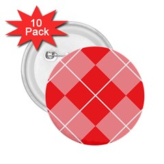 Plaid Triangle Line Wave Chevron Red White Beauty Argyle 2 25  Buttons (10 Pack)  by Alisyart
