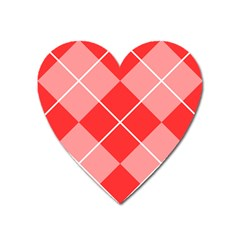 Plaid Triangle Line Wave Chevron Red White Beauty Argyle Heart Magnet by Alisyart