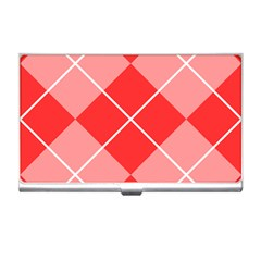 Plaid Triangle Line Wave Chevron Red White Beauty Argyle Business Card Holders by Alisyart