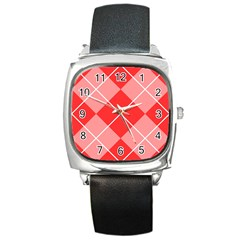 Plaid Triangle Line Wave Chevron Red White Beauty Argyle Square Metal Watch by Alisyart