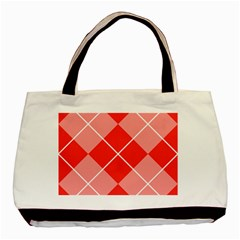 Plaid Triangle Line Wave Chevron Red White Beauty Argyle Basic Tote Bag by Alisyart