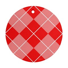 Plaid Triangle Line Wave Chevron Red White Beauty Argyle Round Ornament (two Sides) by Alisyart