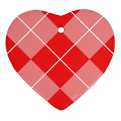 Plaid Triangle Line Wave Chevron Red White Beauty Argyle Heart Ornament (two Sides) by Alisyart