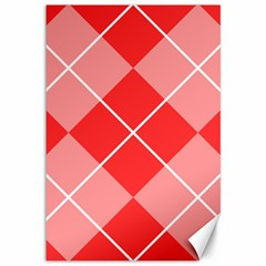 Plaid Triangle Line Wave Chevron Red White Beauty Argyle Canvas 12  X 18   by Alisyart