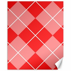 Plaid Triangle Line Wave Chevron Red White Beauty Argyle Canvas 16  X 20   by Alisyart