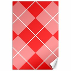 Plaid Triangle Line Wave Chevron Red White Beauty Argyle Canvas 24  X 36  by Alisyart