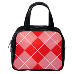 Plaid Triangle Line Wave Chevron Red White Beauty Argyle Classic Handbags (one Side) by Alisyart